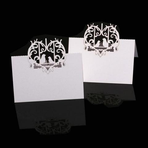 банкетная карточка с лазерной резкой сердце птицы