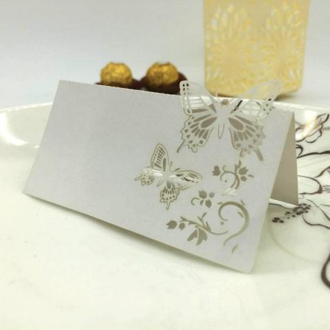 рассадочные карточки с белыми бабочками купить