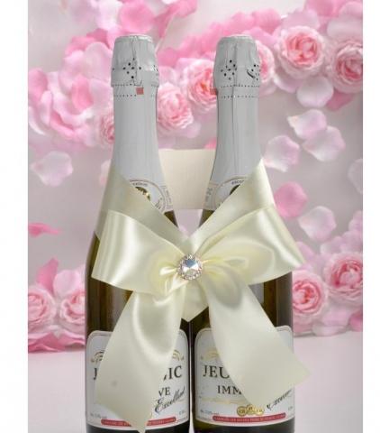 банты на свадебное шампанское айвори купить