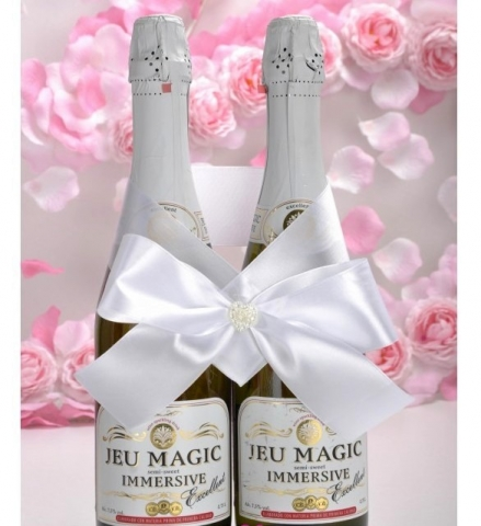 бант на свадебное шампанское белый фото