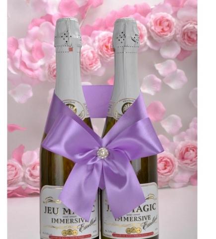 бант на свадебное шампанское сиреневый купить