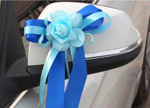 сине-голубые банты на ручки, зеркала авто фото