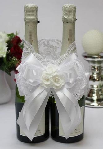 белый красивый бант на свадебное шампанское купить