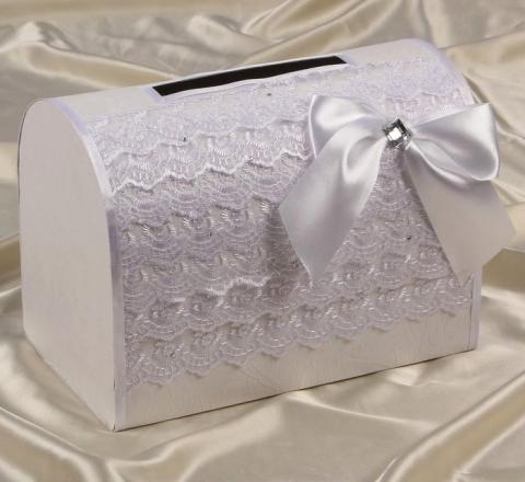 свадебная коробка белая кружевная фото