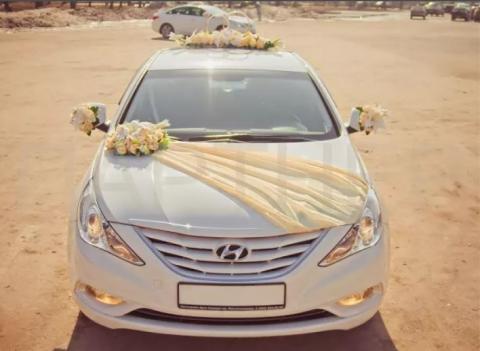 бежево-золотистый свадебный комплект на машину