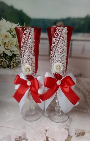 бокалы на свадьбу красно-белые купить