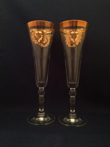 свадебные бокалы золото фото