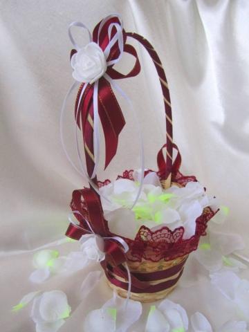 свадебная корзиночка бордовая фото