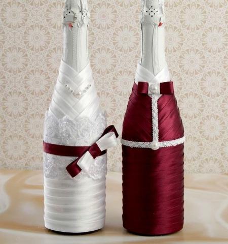 украшение на шампанское бордовое фото