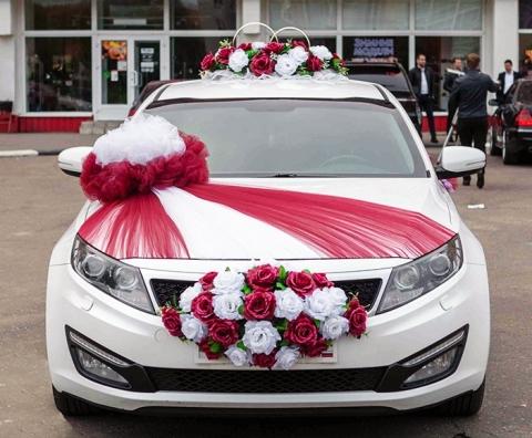 бордовые украшения на свадебные машины купить