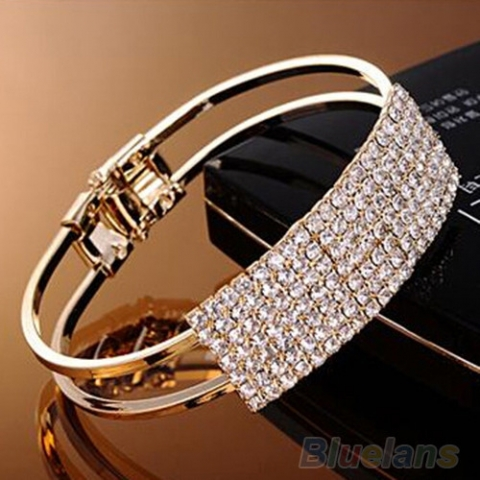 браслет металл золото стразы