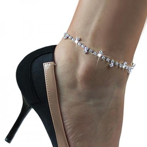 браслет на ногу стразы фото