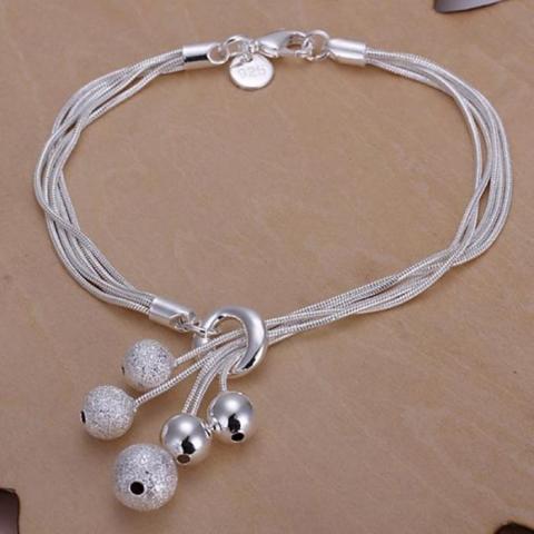браслет серебристый цепочки, шарики купить