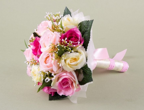 букет невесты красно-бело-розовый фото