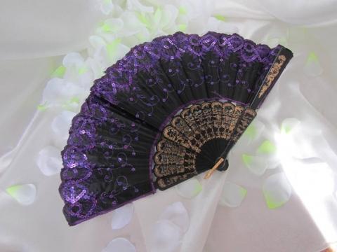 театральный веер с фиолетовыми паетками фото