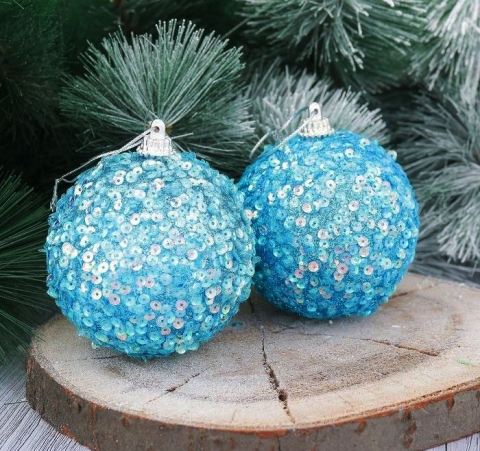 елочные шары голубые фото