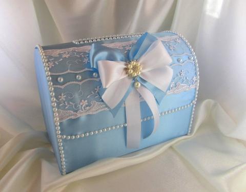 голубые свадебные коробки фото