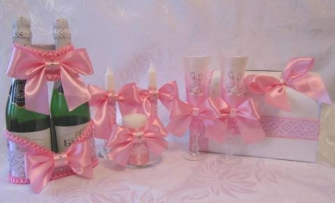 розовая коллекция свадебных аксессуаров фото
