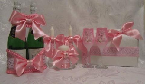 свадебные наборы розовые фото