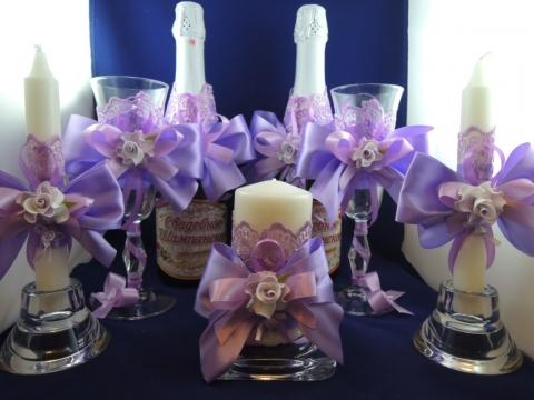 сиреневая свадьба комплект аксессуаров купить