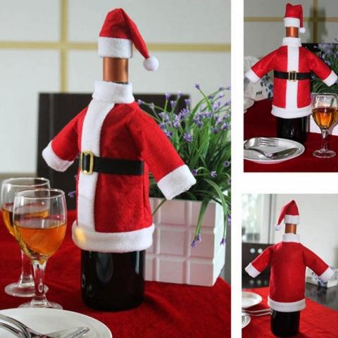 чехол на новогоднюю бутылку дед мороз