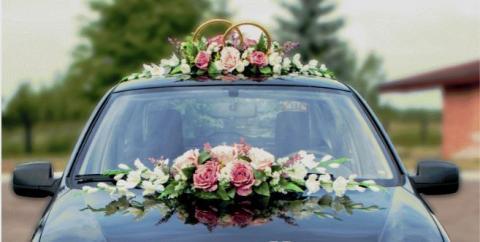 премиум цветы на свадебную машину