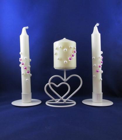 свадебные свечи фуксия фото