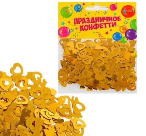 конфетти середечки золотистое фото