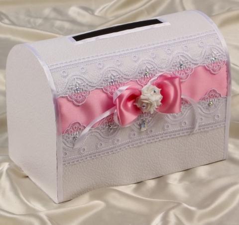 розовая свадебная коробка для денег фото
