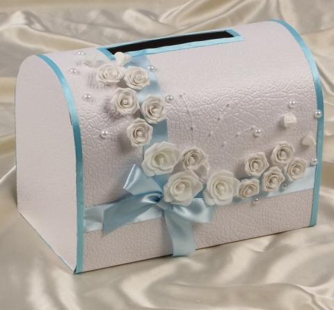 голубой свадебный сундучок фото
