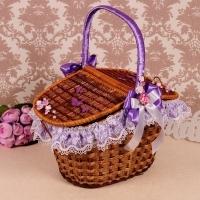 сиреневая корзина для свадебного пикника купить