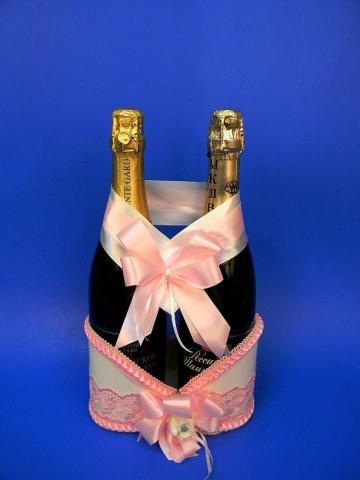корзинка для шампанского розовая купить