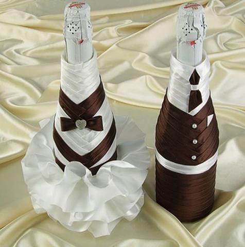 коричневое украшение на шампанское купить