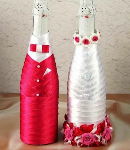 чехлы на свадебное шампанское малиновые купить