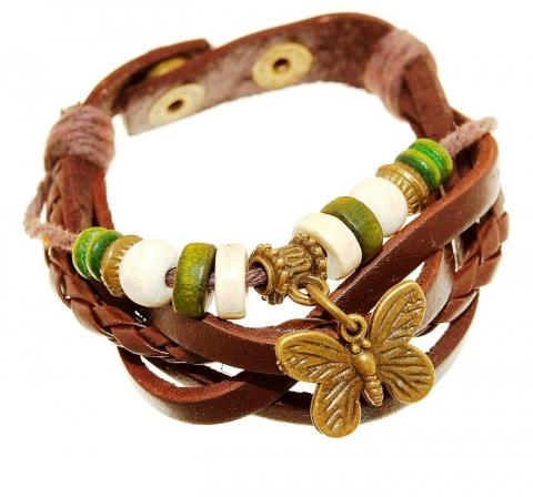 кожаный браслет с бабочкой