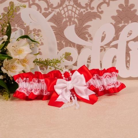 свадебная подвязка красная строгая
