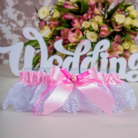 свадебная подвязка розовая кружевная