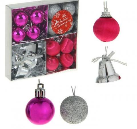 елочные игрушки мини розовые малиновые серебристые фото