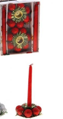 красные новогодние свечи с подсвечниками фото
