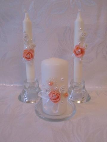 персиковые свадебные свечи фото