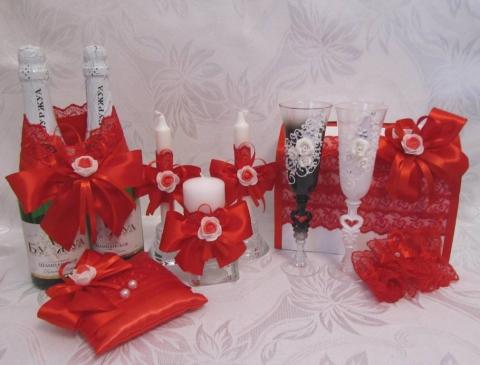 набор свадебный красный фото