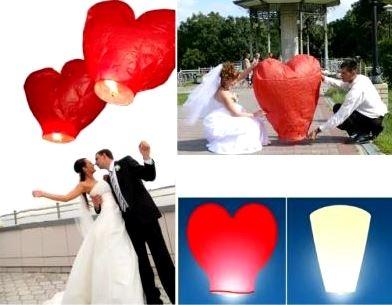 свадебный фонарик желаний красное сердце