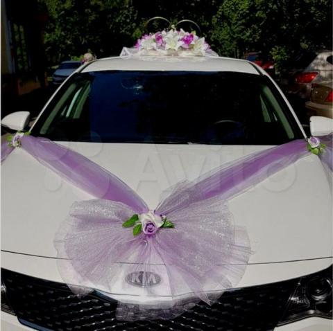 нежно-сиреневый комплект на свадебную машину