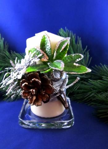 серебристые новогодние свечи фото