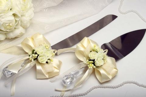 ножи лопатка для свадебного торта айвори