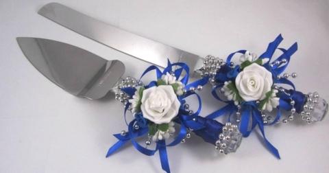 синие нож и лопатка для свадебного торта купить