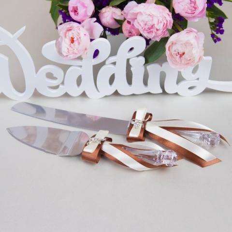 нож и лопатка для свадебного торта коричневые шоколадные фото