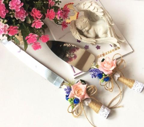 нож и лопатка для свадебного торта в стиле рустик