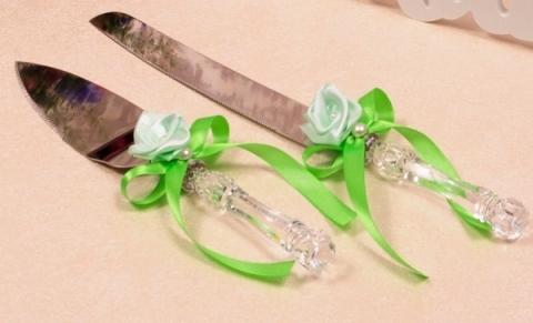 приборы для свадебного торта нож и лопатка зеленые купить