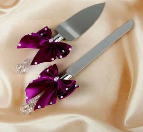 приборы для свадебного торта бордовые купить